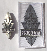 Picture of the pin and patch for 21,000 Kilometers