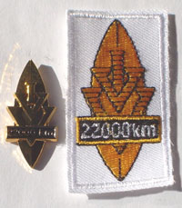Picture of the pin and patch for 22,000 Kilometers