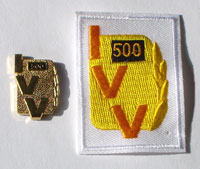 Picture of the pin and patch for 500 Events