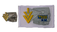 Picture of the pin and patch for 7,500 Kilometers
