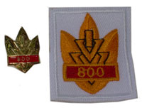 Picture of the pin and patch for 800 Events